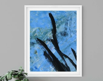 Blue and Black Abstract Art Print | Ascending the Blue | Contemporary Art, Gallery Wall Art, Modern Decor