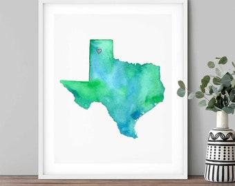 Amarillo Texas Watercolor Map Art Print