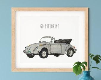 VW Beetle Convertible Watercolor, Go Exploring | Silver 1979 VW Bug Art Print