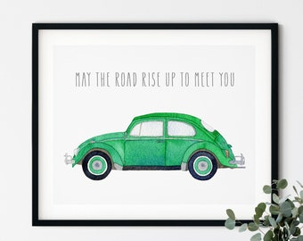 VW Beetle Irish Blessing Watercolor | May The Road Rise Up To Meet You