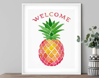 Welcome Sign Pineapple Art Print | Watercolor Pineapple Entryway Decor | Housewarming Gift