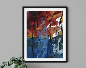 Red Gold Blue Modern Abstract Painting | Primary Setting | Abstract Wall Art, Bedroom Wall Décor, Minimalist Art Print, Living Room Wall Art