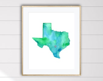 San Antonio Texas Watercolor Map Art Print