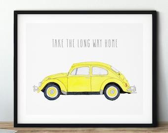 VW Bug Watercolor Art | VW Beetle Art Gift | Take The Long Way Home Inspirational Phrase
