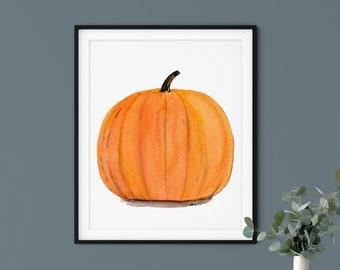 Watercolor Pumpkin Painting | Fall Decor, Halloween Decor, Thanksgiving Decor, Kitchen Wall Art