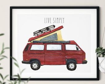 VW Vanagon Westfalia, Red 1987 Camper Van | Live Simply Watercolor Art Print
