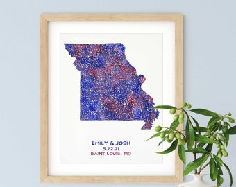 Personalized Missouri Watercolor Map Art | Custom Missouri Map, Original Painting