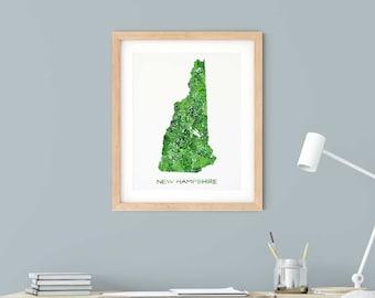 New Hampshire Map Art Print | Green Watercolor Map of New Hampshire
