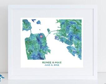 San Francisco Map - Alameda Map - Oakland Map - Custom Map Art Anniversary Gift