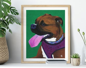Boxer Dog Art Print | Boxer Breed Dog Portrait | Boxer Dog Gift
