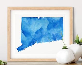 Connecticut Watercolor Art Map | Connecticut Map Housewarming Gift