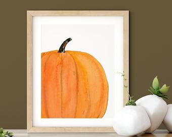 Pumpkin Painting Fall Decor | Thanksgiving Decor Kitchen Art | Watercolor Pumpkin Decor | Fall Wall Art