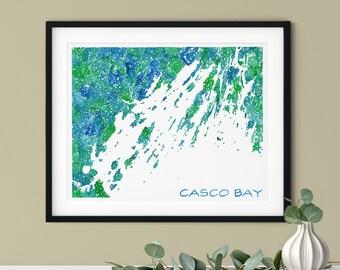 Casco Bay Map Art Print | Coastal Maine Watercolor Art Map