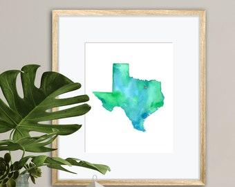 Dallas Texas Watercolor Map Art Print