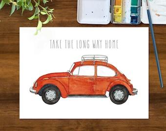 VW Bug with Luggage Rack Art Print | Take The Long Way Home Gallery Wall Art | 1971 VW Beetle Clementine Orange