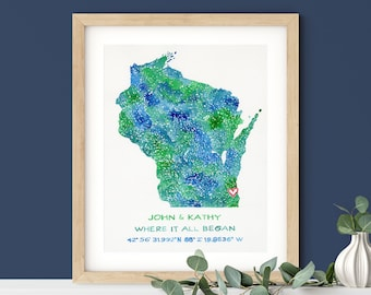 Wisconsin Watercolor Map | Personalized Wisconsin Wedding Gift | Original Painting