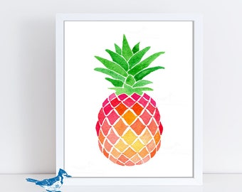Pineapple Art Print - Pineapple Decor - Mothers Day Gift - Watercolor Pineapple Print - Pink Wall Art - Tropical Fruit Art - Kitchen Art