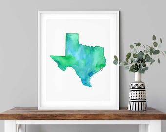 Galveston Texas Watercolor Map Art Print
