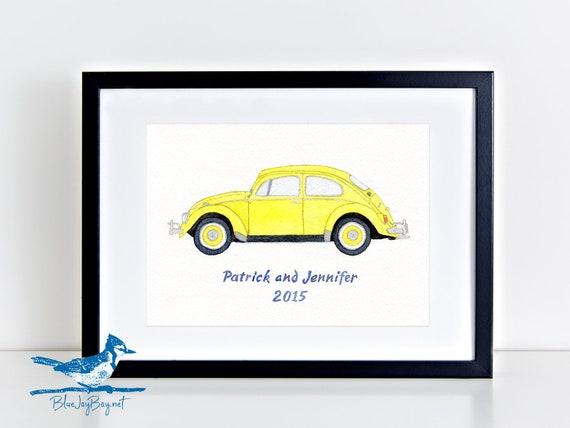 Vintage Retro VW Beetle Slug Bug Birthday Banner Personalized Party Decoration