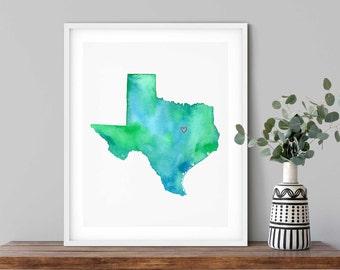 Wako Texas Watercolor Map Art Print