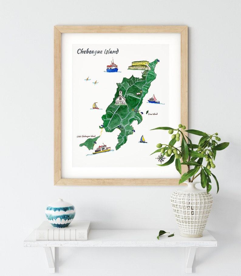 Chebeague Island Map Print  Watercolor Map of Chebeague  image 0