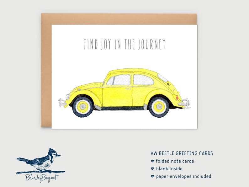 VW Beetle Greeting Cards Moving Card Yellow Beetle Volkswagen Note Card VW Bug Find Joy In The Journey VW Gifts