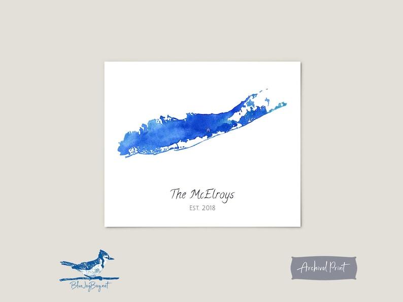 484ae5f5b98 Personalized Long Island Map Art Print Blue Watercolor