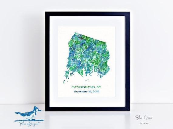 Stonington Connecticut Personalized Map - Stonington CT Map - Original  Painting - Wedding Gift