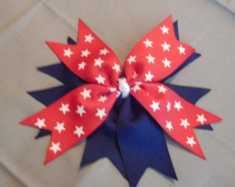 Red, White, and Blue Hair Bow Clip for 4th of July America