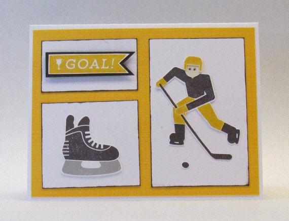 Ice Hockey Happy Birthday Card Yellow And Black Hand Etsy