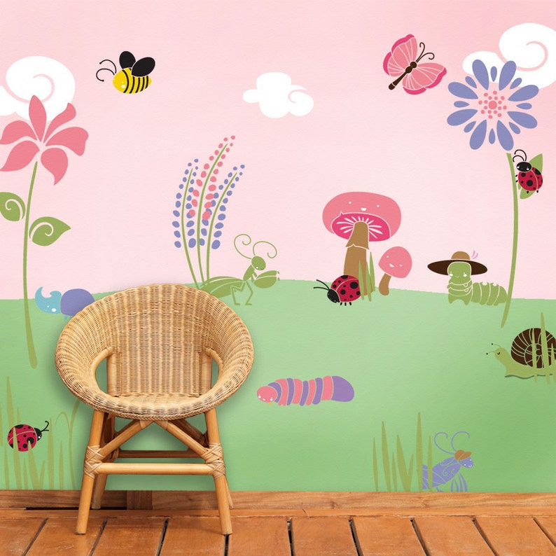 Bug Flower Garden Wall Stencil Kit For Baby Girl Room Stl1005
