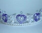 Purple Hearts Pearl and Crystal Princess Tiara, Flower Girl Tiara
