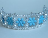 Blue Flower Pearl and Crystal Child's Tiara