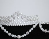 Regal Pearl and Bead Flower Girl / Bride Tiara Necklace and Bracelet
