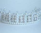 Rhinestone, Pearl and Crystal Princess Tiara, Flower girl Tiara, Birthday Tiara