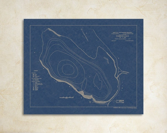 Print of Depth Chart for Robbins Lake, in Cass County, Michigan. Printed on Canvas, Matter Paper, or Photo Paper.