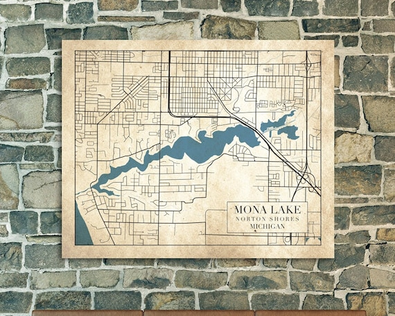Print of Map of Mona Lake, Michigan. Printed on Canvas, Matter Paper, or Photo Paper.