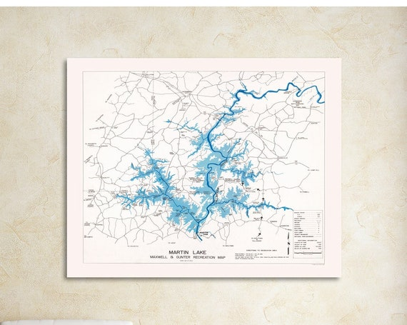 Print of Map Featuring Martin Lake, in Alabama. Printed on Canvas, Matter Paper, or Photo Paper.