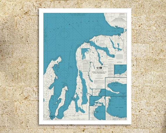 Print of Nautical Chart of Grand Traverse Bay to Little Traverse Bay of Lake Michigan. Printed on Canvas, Matter Paper, or Photo Paper.