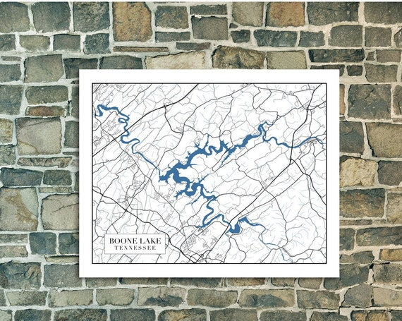 Print of Minimal Map of Boone Lake, Tennessee. Printed on Canvas, Matter Paper, or Photo Paper.