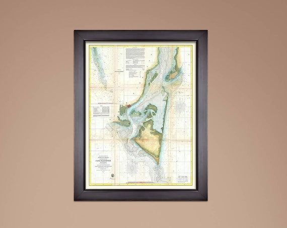 Print of Antique Map of North Carolina Cape Fear River on Matte Paper, Photo Paper, or Stretched Canvas. Free Shipping!