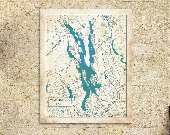 Detailed Map of Candlewood Lake in Connecticut. Printed on Canvas, Heavyweight Matter Paper, or Photo Paper.