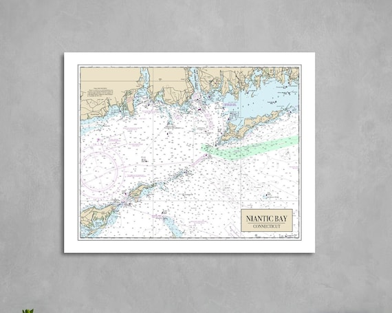 Print of Nautical Chart Featuring Niantic Bay and Fishers Island. Printed on Canvas, Matter Paper, or Photo Paper.