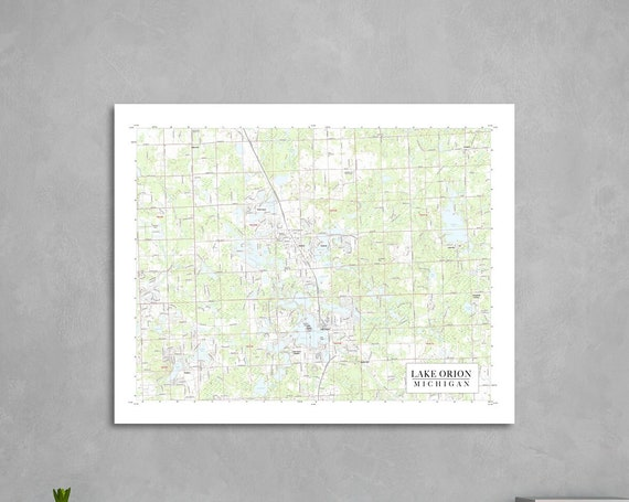 Print of Map of Lake Orion, Michigan. Printed on Canvas, Matter Paper, or Photo Paper.