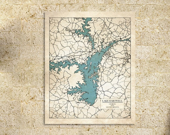 Print of Map of Lake Hartwell, part of Georgia and South Carolina. Printed on Canvas, Matter Paper, or Photo Paper.