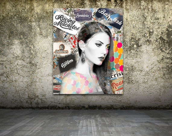 Print of modern abstract collage painting featuring female portrait with text patterns on canvas photo paper or matte paper, free shipping!