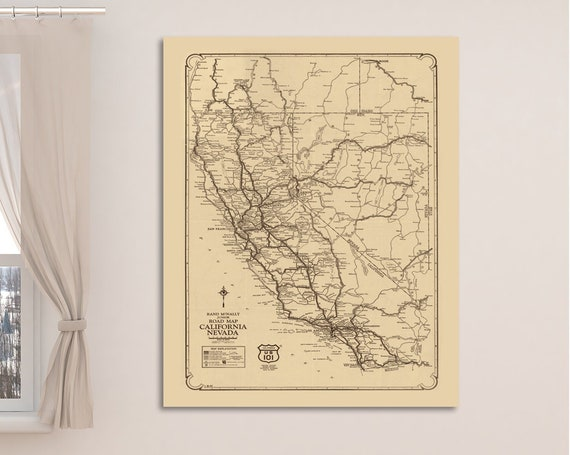 Detailed Antique Road Map of California and Nevada. Printed on Canvas, Heavyweight Matter Paper, or Photo Paper.