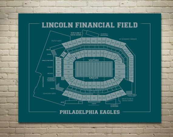 Vintage Style Print of Lincoln Financial Field Seating Chart on Photo Paper, Matte Paper, or Stretched Canvas