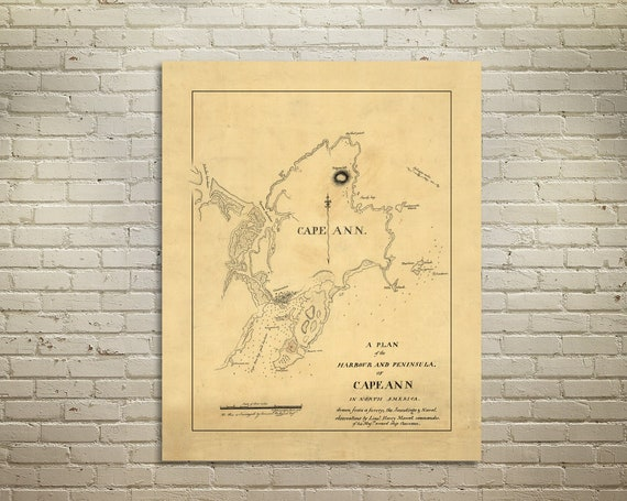 Detailed Map of Cape Ann in Massachusetts. Printed on Canvas, Heavyweight Matter Paper, or Photo Paper.