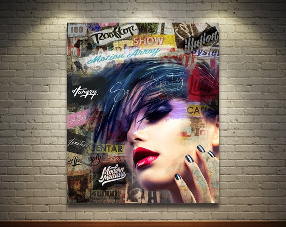 Print of modern abstract collage painting featuring female portrait with text and fonts on canvas photo paper or matte paper, free shipping!